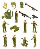Soldados isométricos Forças especiais militares, guerreiros no uniforme do exército, munição e armas 3d isolou o grupo do vetor ilustração royalty free