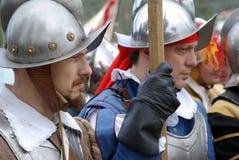 Soldados medievales Fotos de archivo libres de regalías