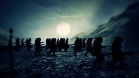Soldados medievales que marchan con la noche libre illustration