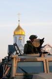 Soldados na frente da capela Fotos de Stock