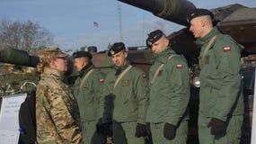 Soldados polacos y americanos en Zagan Polonia Foto de archivo libre de regalías