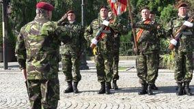 Soldados que saludan generales en un desfile metrajes