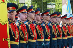 Soldados rusos en la formación del desfile Foto de archivo