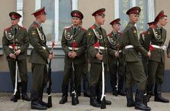 Soldados rusos en la repetición del desfile Foto de archivo libre de regalías