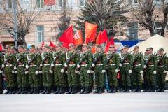 Soldados rusos jovenes en el desfile Imagen de archivo