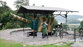 Soldados simulados en la fortaleza Siloso Fotografía de archivo libre de regalías
