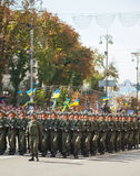 Soldados transportados por via aérea do exército ucraniano em Kyiv, Ucrânia Fotografia de Stock