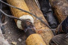 Soldadura das tubulações Fotos de Stock