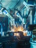 Soldadura de los robots Fotografía de archivo libre de regalías