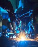 Soldadura de Team Robot Imagem de Stock