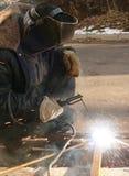 Soldadura do metal por uma corrente elétrica Imagens de Stock Royalty Free
