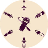 Soldadura e ferramentas com motocicletas ilustração royalty free