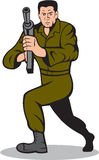 Soldat-Aiming Sub-Machine Gun-Karikatur Stockfoto