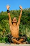 Soldat asiatique triomphant Images libres de droits