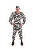 Soldat auf einem weißen Hintergrund Stockfotos
