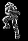 Soldat av den framtida vektorillustrationen Royaltyfria Bilder