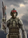 Soldat av framtiden med ett gevär mot en stormig himmel stock illustrationer