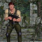 Soldat avec l'arme Photo libre de droits