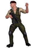 Soldat avec l'arme Photographie stock