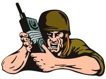 Soldat avec la radio d'isolement en fonction illustration libre de droits