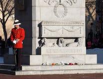 Soldat canadien In Historic Uniform au cénotaphe pour le jour de souvenir Images libres de droits