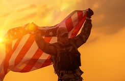 Soldat Celebrating Victory stockfotografie