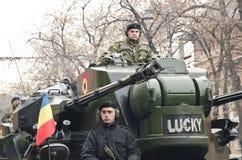 Soldat commandant un réservoir Image libre de droits