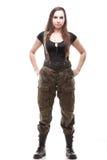 Soldat d'armée de femme d'isolement sur le fond blanc Photos stock