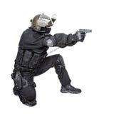 Soldat d'ops de Spéc. avec le pistolet Image libre de droits