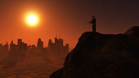 soldat 3D sur la surveillance au coucher du soleil Images stock