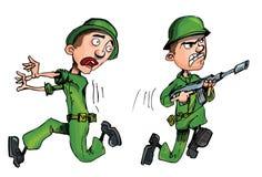 Soldat de Carging et un soldat en fuite Photos stock