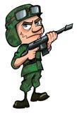 Soldat de dessin animé d'isolement sur le blanc Photos stock