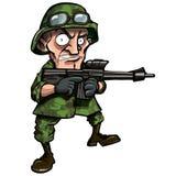 Soldat de dessin animé d'isolement sur le blanc Image libre de droits