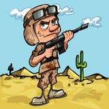 Soldat de dessin animé dans le désert Photos stock