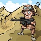 Soldat de dessin animé dans le désert Images libres de droits