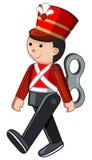 Soldat de jouet marchant sur le fond blanc illustration de vecteur
