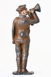 Soldat de jouet - un commandant avec la trompette Photographie stock