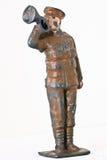 Soldat de jouet - un commandant avec la trompette Images libres de droits