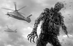 Soldat de zombi dans l'uniforme militaire et des hélicoptères illustration de vecteur