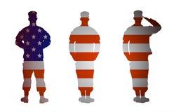 Soldat der AMERIKANISCHEN Armee in drei Positionen lokalisiert auf weißem Hintergrund lizenzfreie abbildung