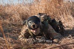 Soldat, der auf den Gebieten sich versteckt Stockfotos