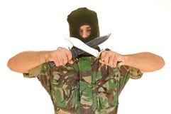 Soldat, der ein Messer anhält Lizenzfreies Stockfoto