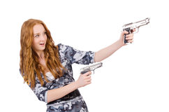 Soldat der jungen Frau mit Gewehr Stockfoto