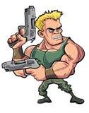 Soldat der Karikatur mit Muskeln mit zwei Pistolen Stockbild