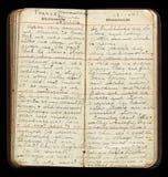 Soldat Diary Pages för amerikan WWI Arkivbilder