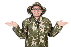 Soldat drôle dans les militaires Photos stock