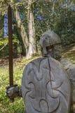 Soldat du 11ème siècle Sculpture à l'abbaye de bataille Images libres de droits