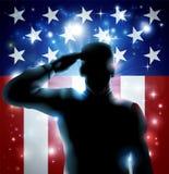 Soldat et bannière étoilée de héros Photos stock