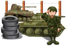Soldat et deux réservoirs militaires illustration stock
