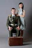 Soldat et fille Image stock